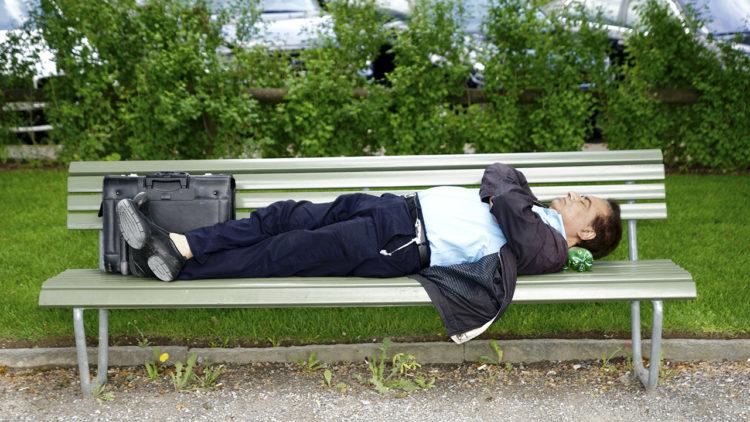 نوم، رجل، حديقة
