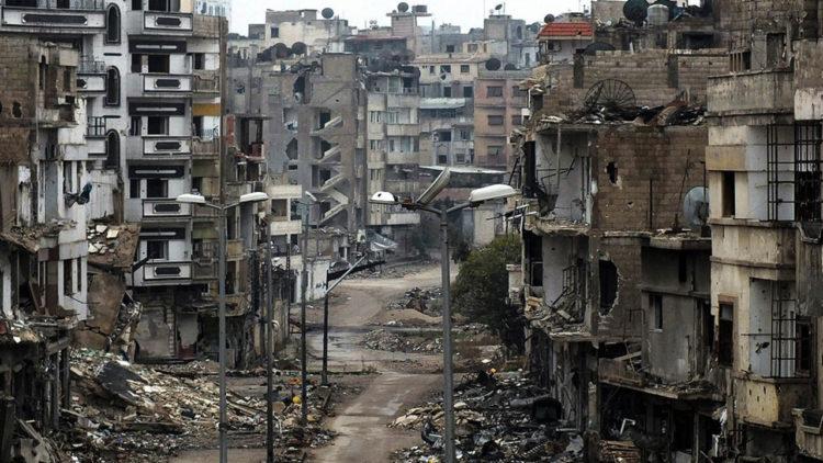 سوريا, الثورة السورية, حمص, شارع مدمر, الأسلحة الروسية