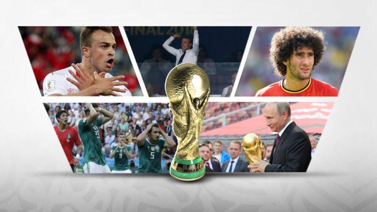 كأس العالم 2018، فلاديمير بوتين، إيمانويل ماكرون، شاكيري، مروان فيلايني