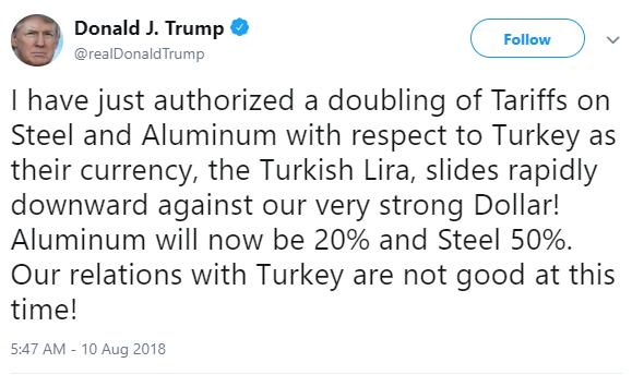 تدوينة ترامب 10 أغسطس 2018