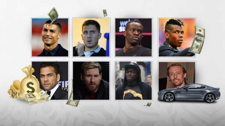 كريستيانو رونالدو, ديفيد بيكهام, ليونيل ميسي,كرة القدم العالمية, أموال, أموال اللاعبين