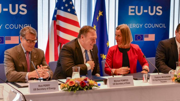 مايك بومبيو, فيديريكا موغريني, الاتحاد الأوروبي, الولايات المتحدة الأمريكية