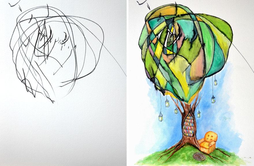 غضب، طفل، فن، رسم، ألوان