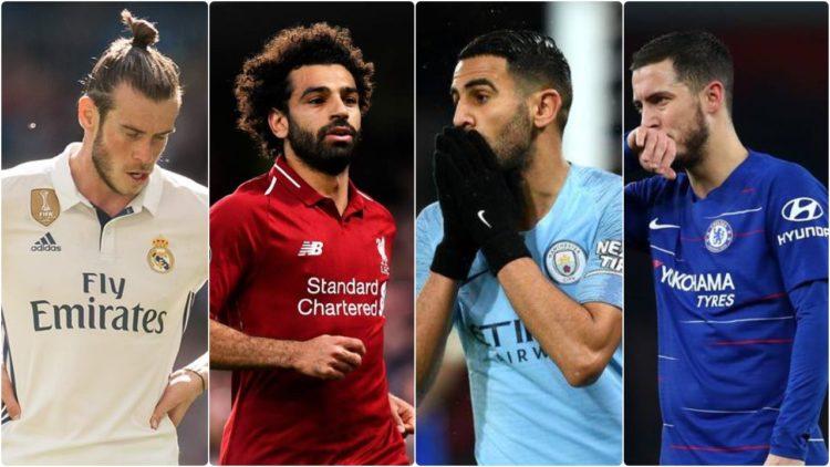 إيدين هازارد, رياض محرز, محمد صلاح, جاريث بيل, الدوري الإنجليزي الممتاز