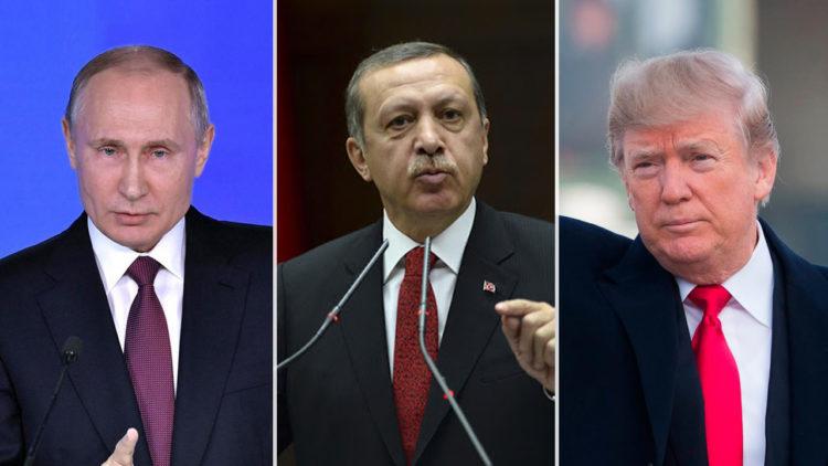 دونالد ترامب, رجب طيب أردوغان, فلاديمير بوتين, الولايات المتحدة الأمريكية, روسيا, تركيا