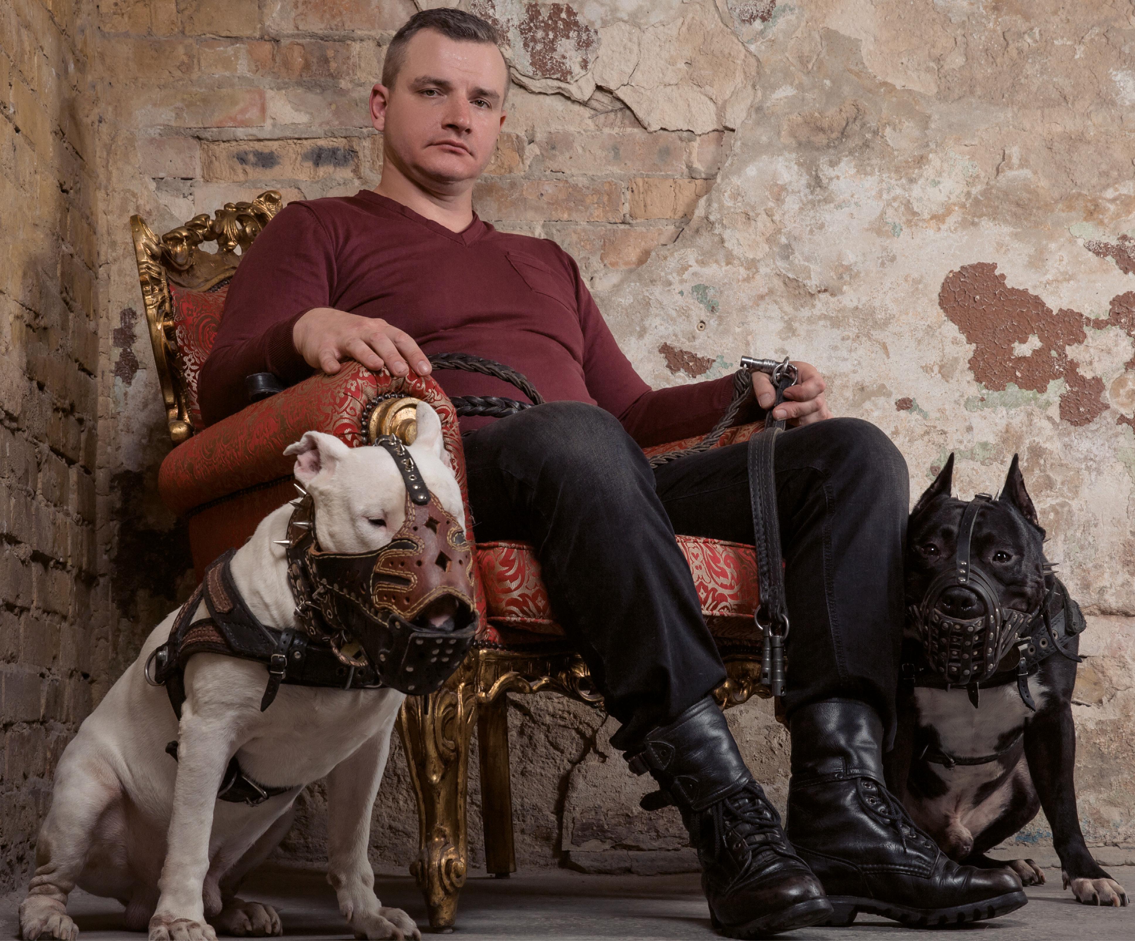 Hundebesitzer mit Kampfhunden