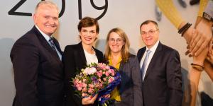 Landeshauptfrau-Stellvertreter Franz Schnabl, SPÖ-Bundesparteivorsitzender Pamela Rendi-Wagner, Landesrätin Ulrike Königsberger-Ludwig und NÖ GVV-Präsident Rupert Dworak.