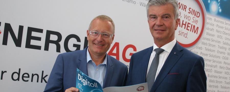 Meinungsforscher Werner Beutelmeyer und Energie AG-Generaldirektor Werner Steinecker