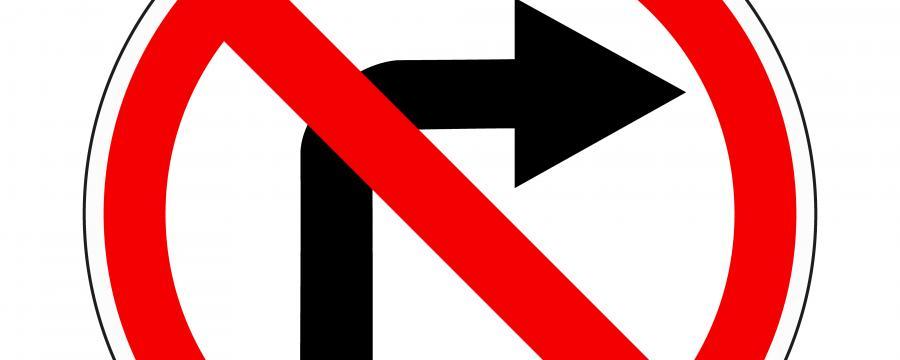 """Verkehrszeichen """"rechts abbiegen verboten"""""""