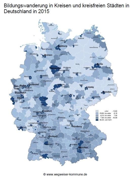 Der Datenschatz zeigt, in welche Kommunen Menschen ziehen, um sich zu bilden.