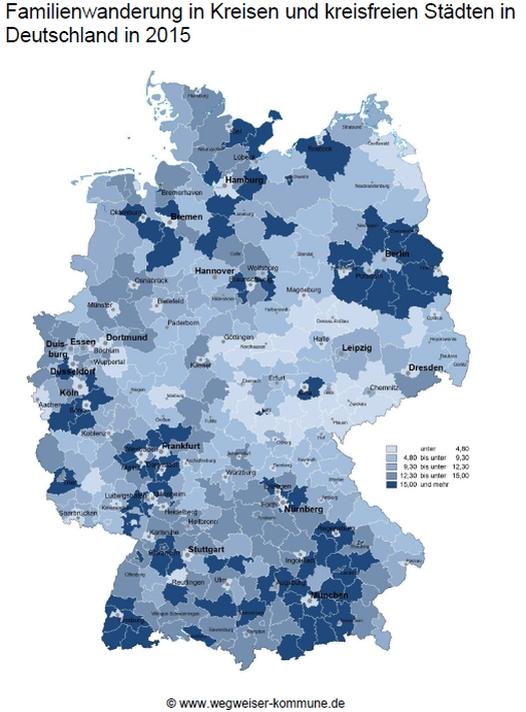 Der Datenschatz zeigt, in welche Kommunen Familien ziehen.