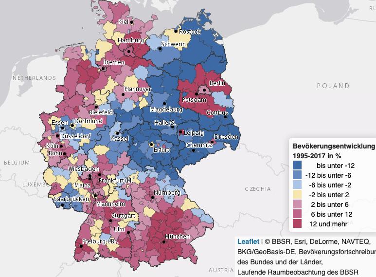 Karte der BBSR. Sie zeigt farblich die Gewinner und Verlier