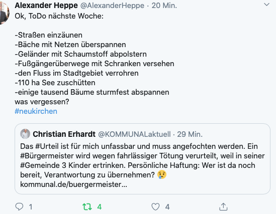 Eintrag auf dem persönlichen Twitter-Kanal von Christian Erhardt www.twittter/KOMMUNALaktuell