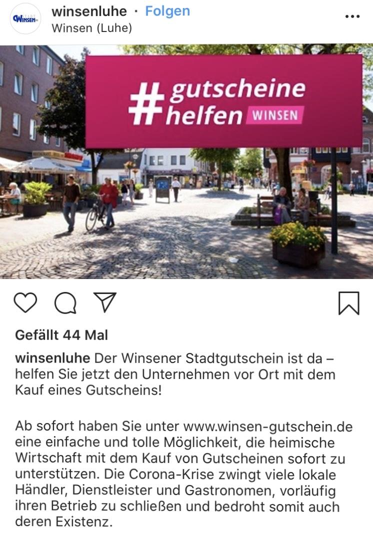 Auch in Winsen wird darum geworben Gutscheine für die Einzelhändler zu kaufen, damit sie die Corona-Pandemie wirtschaftlich überstehen.
