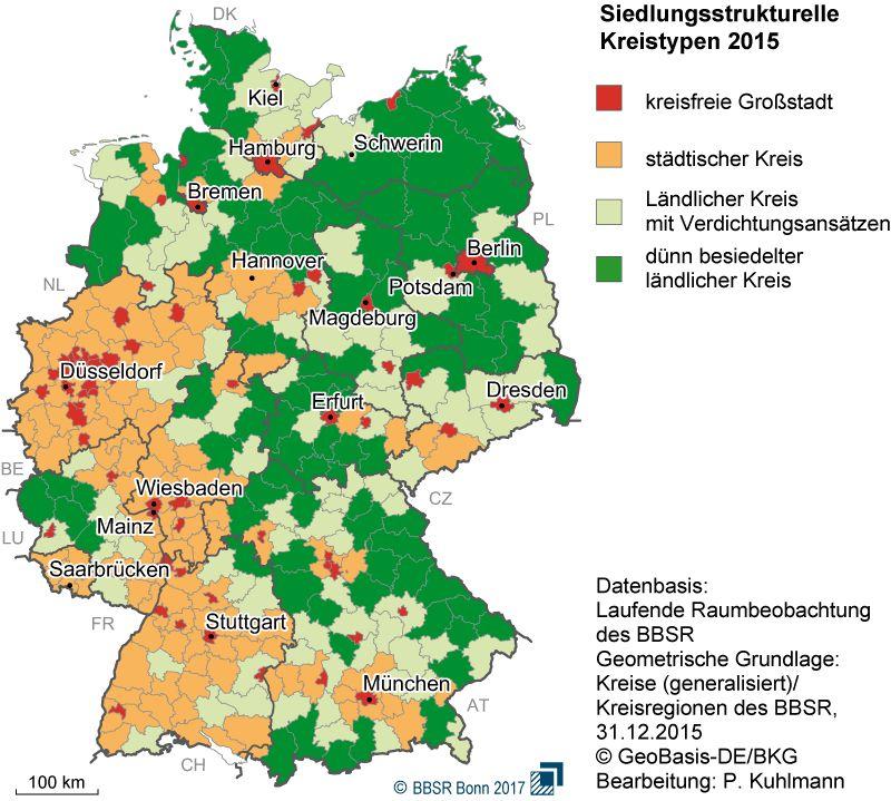 Deutschlandkarte - Urbane Räume versus ländlicher Raum