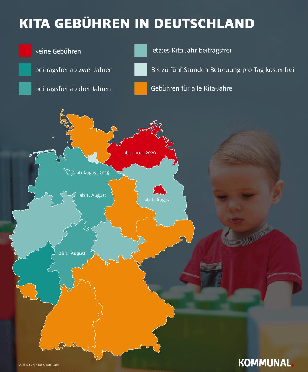 Deutschlandkarte - so halten es die Länder in Sachen Kita