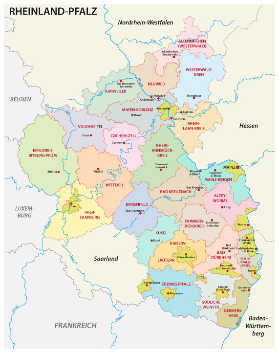 So sehen die Landkreise in Rheinland-Pfalz aus ohne Gebietsreformen.