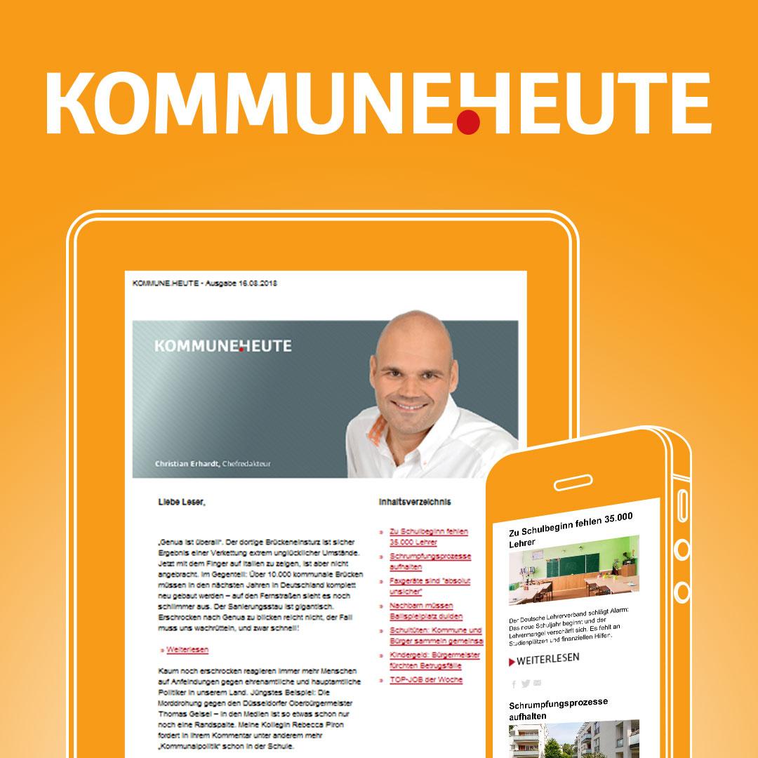 Christian Erhardt hält sie jeden Donnerstag auf dem Laufenden - in KOMMUNE.HEUTE - unserem kostenlosen Newsletter - jetzt dabei sein! Mit einem Klick nie wieder etwas Wichtiges verpassen!