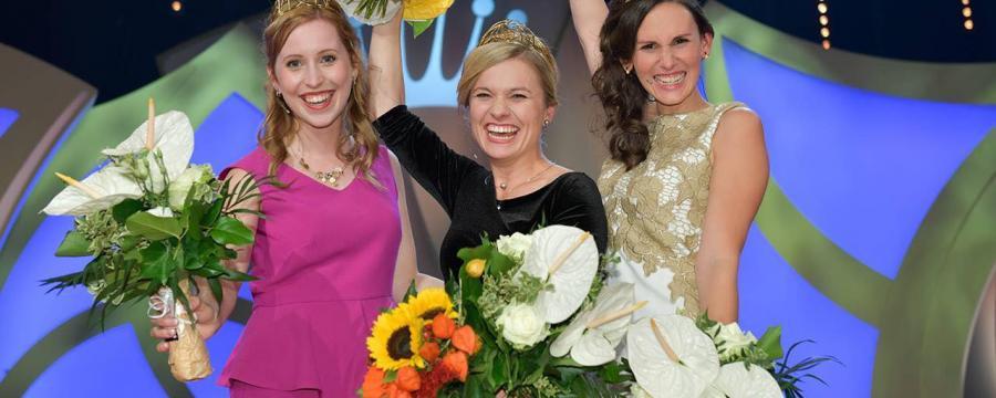 Weinkönigin macht Werbung für deutsche Provinzen