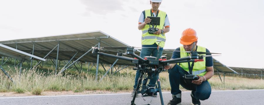 Drohne vor einem Flug