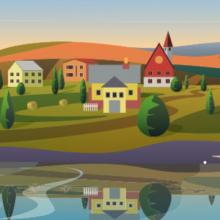 Fiktive Kleinstadt der Zukunft