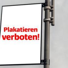 Wahlplakat an Laternenmast verboten