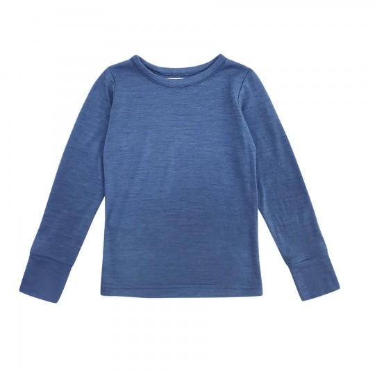 Bluza din lana merinos si matase Prussian Blue