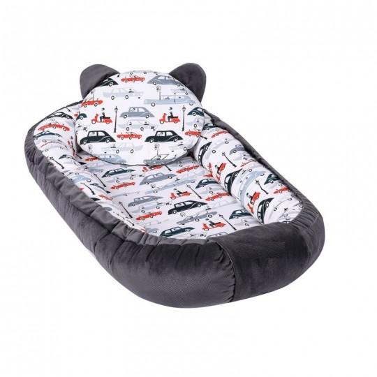 Baby Nest Multifunctional cu doua tipuri de material, Velur Grey Cars