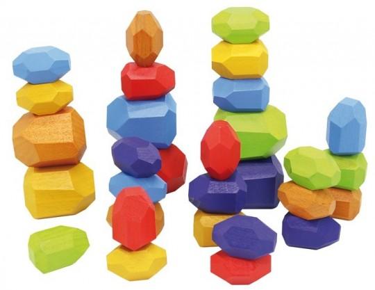 Set 30 pietre din lemn, joc de stivuit si de echilibru