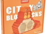 City Blocks-cuburi de lemn pentru construit, culori calde