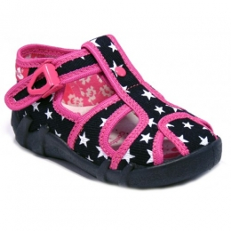 Sandale Fetite, Negru Roz, inchidere catarama, marca RenBut