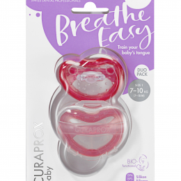 Suzeta ortodontica Curaprox pentru copii intre 7 si 18 luni, roz