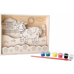 Joc de pictat pe lemn Vacuta Vesela