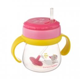 Cana sport cu pai si supapa mobila, Canpol babies, 250 ml, fara BPA, roz