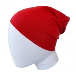 Caciula subtire dublata din lana merinos Light Red
