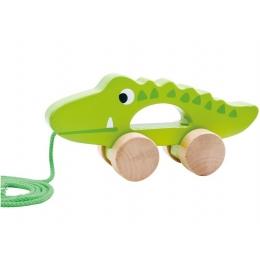 Crocodilul Plimbaret, jucarie de tras din lemn