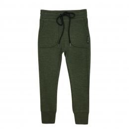 Pantaloni tip jogger din lana merinos extrafina Deep Green
