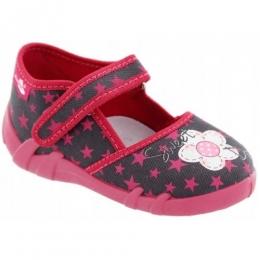 Sandale Fete, Rosu Gri, inchidere velcro, marca RenBut