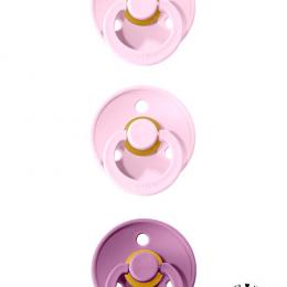Oferta speciala BIBS! Pachet 2 suzete +1 GRATIS ( 2 x Baby Pink + 1 x Lavender - 0 - 6 luni)