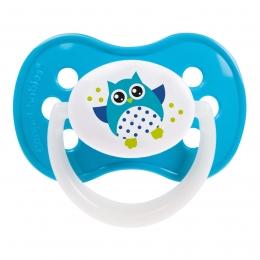 "Suzeta ""Owls"" cu inel fosforescent si tetina simetrica silicon, Canpol babies, fara BPA, 6-18 luni, turcoaz"
