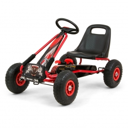 Go-Kart cu pedale si roti gonflabile, Thor Red