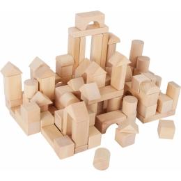 Set 100 cuburi din lemn natur, la saculet