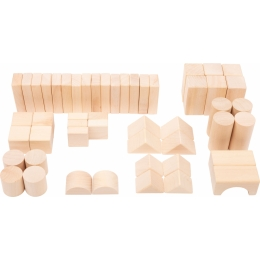 Cuburi de constructie din lemn natur, set de 50
