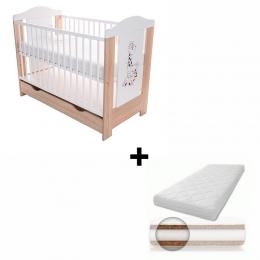 Patut pentru bebelusi, cu sertar, 120x60 cm, Gigi + Saltea Cocos