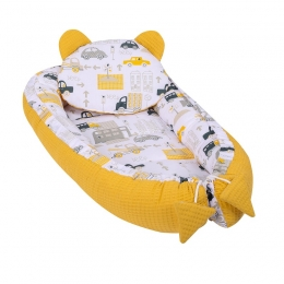 Baby Nest Multifunctional cu doua tipuri de material, Velvet Yellow City
