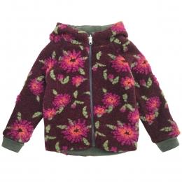Jacheta dublata din lana fiarta Bordeaux Flower