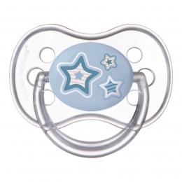 "Suzeta ""Newborn Baby"" cu tetina rotunda silicon, Canpol babies, fara BPA, 18 luni +, albastru"