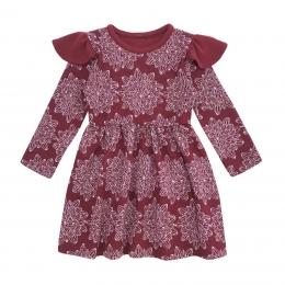 Rochie din lana merinos Cherry Red cu model floral