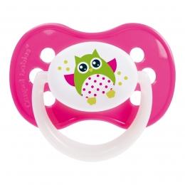 "Suzeta ""Owls"" cu inel fosforescent si tetina simetrica silicon, Canpol babies, fara BPA, 0-6 luni, roz"