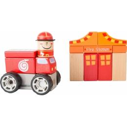 Brigada de pompieri - set de construit cu sunet
